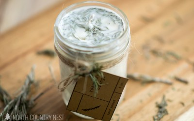 Homemade Essential Oil Candle with Dried Rosemary