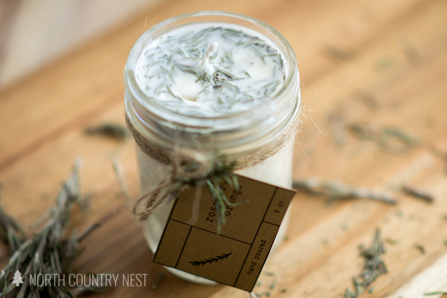 essential oil dried rosemary candle