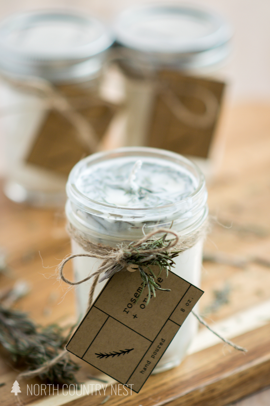 dried rosemary candle