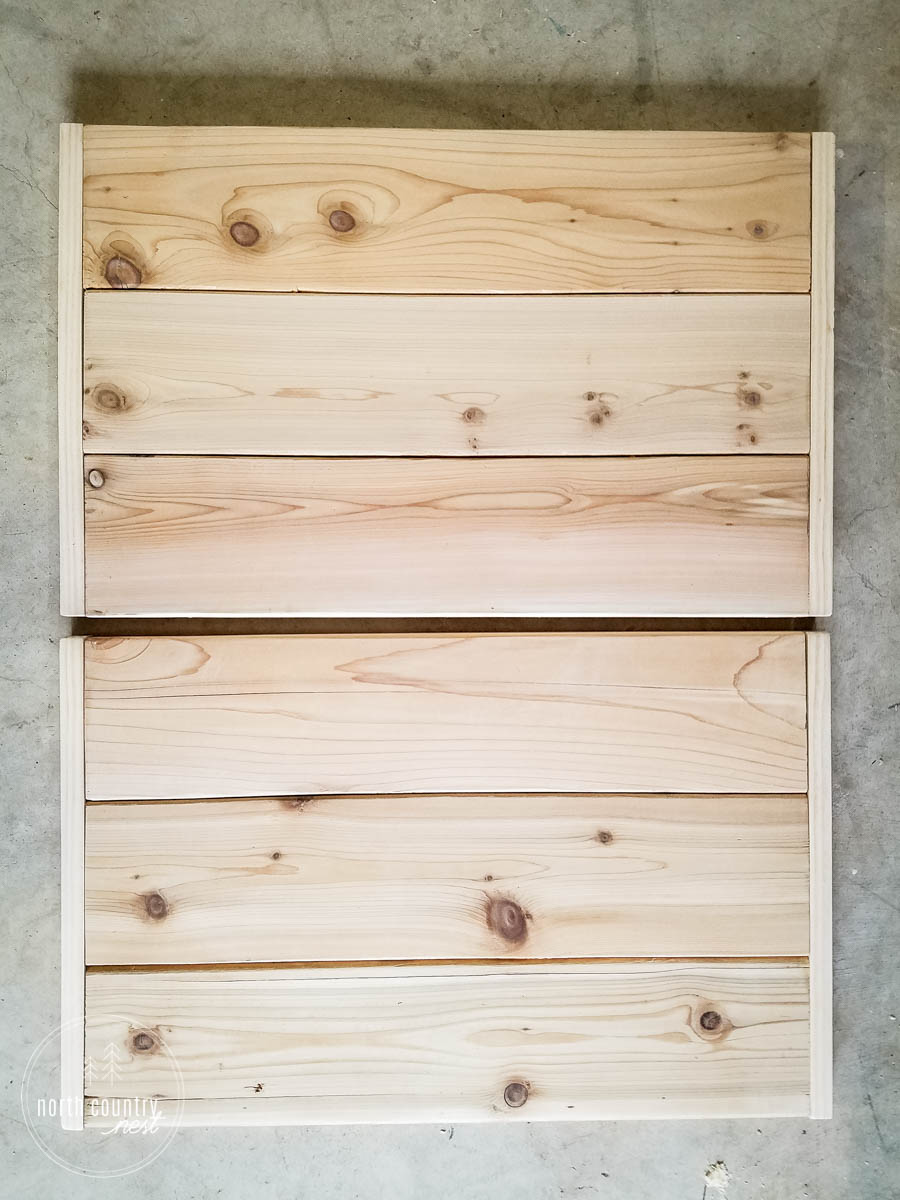 two planked wood slabs for a home printer cart