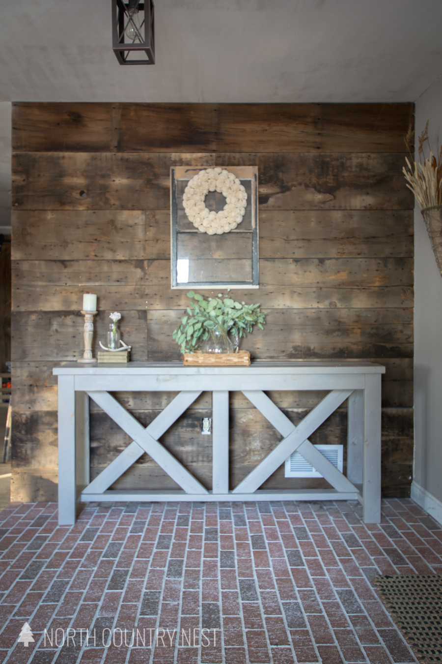 Rustic decor on an entryway table