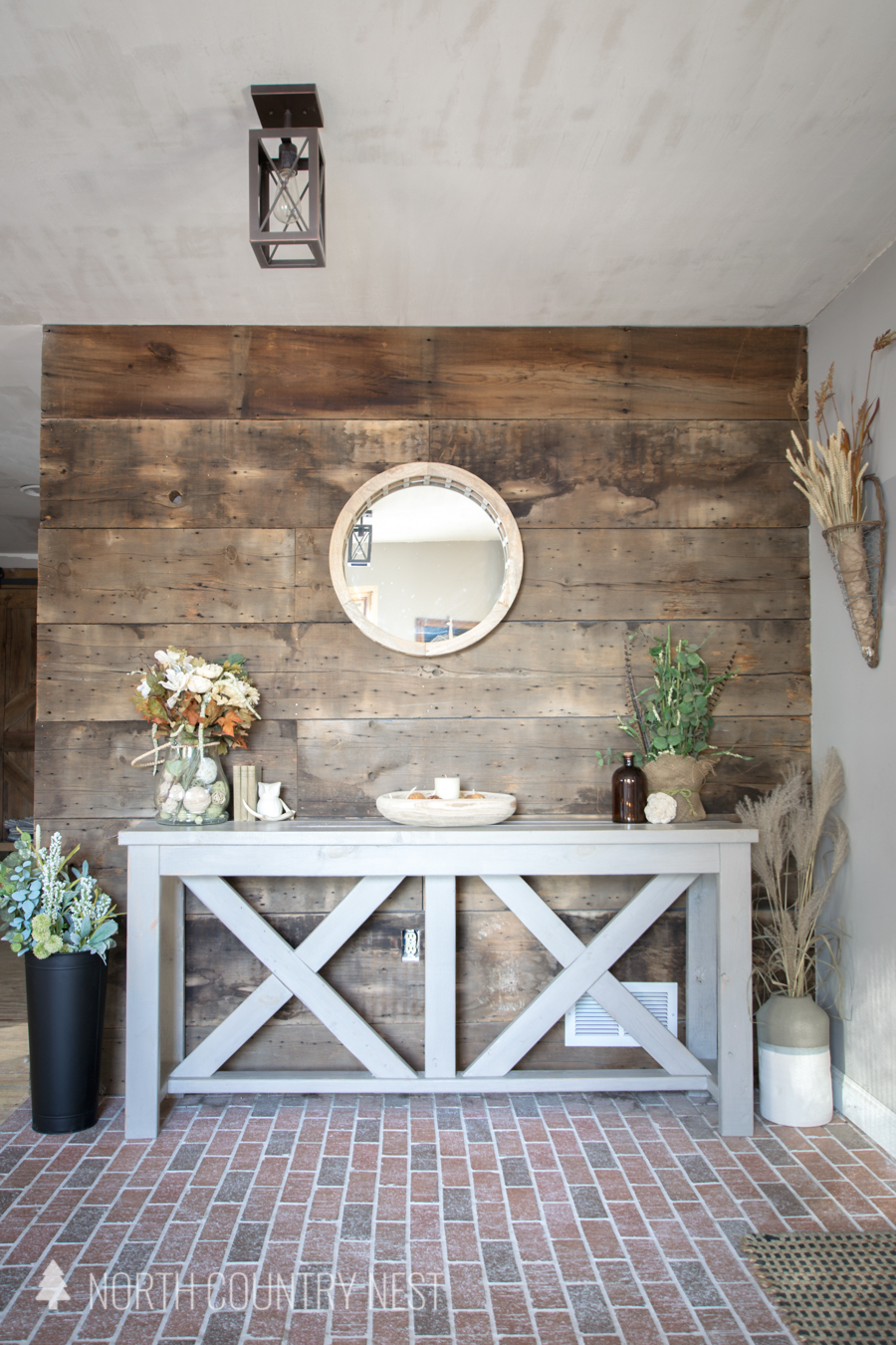 rustic styled entryway table decor