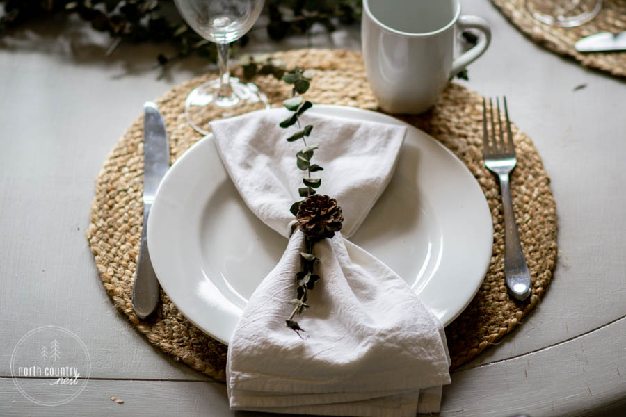 holiday tablescape with natural elements