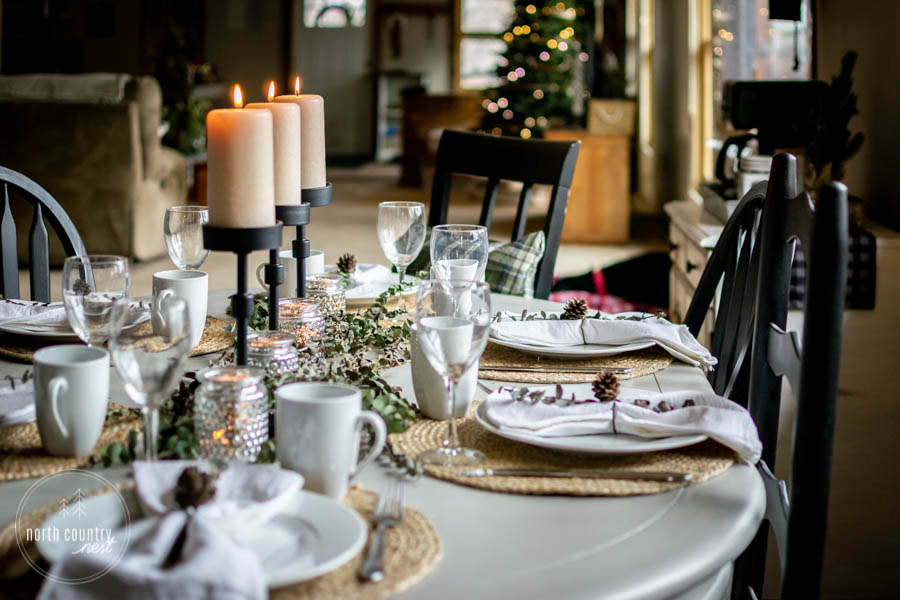 holiday tablescape with black candle holders