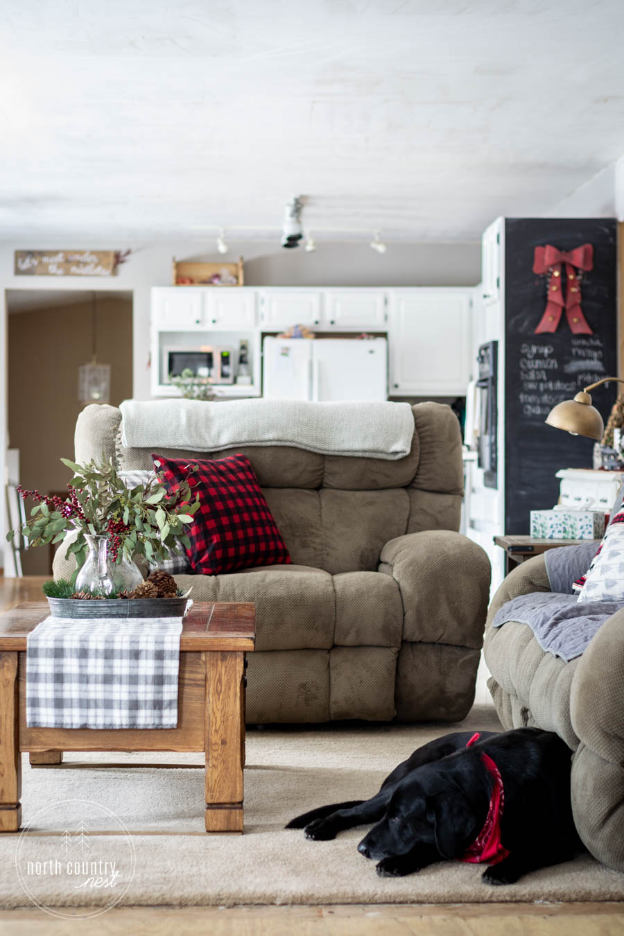 living room with holiday decor