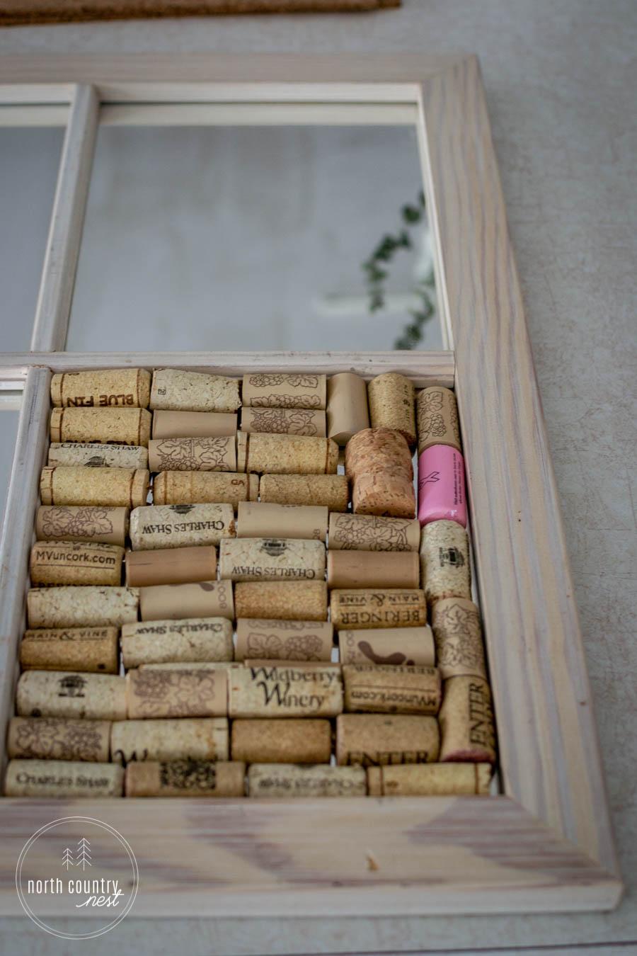 DIY office cork board with wine corks