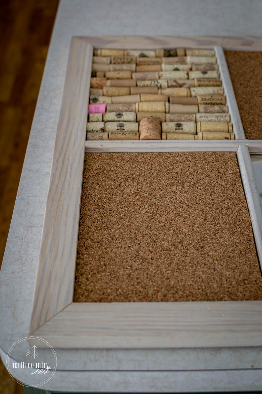 DIY home office cork board with wine corks and cork sheets