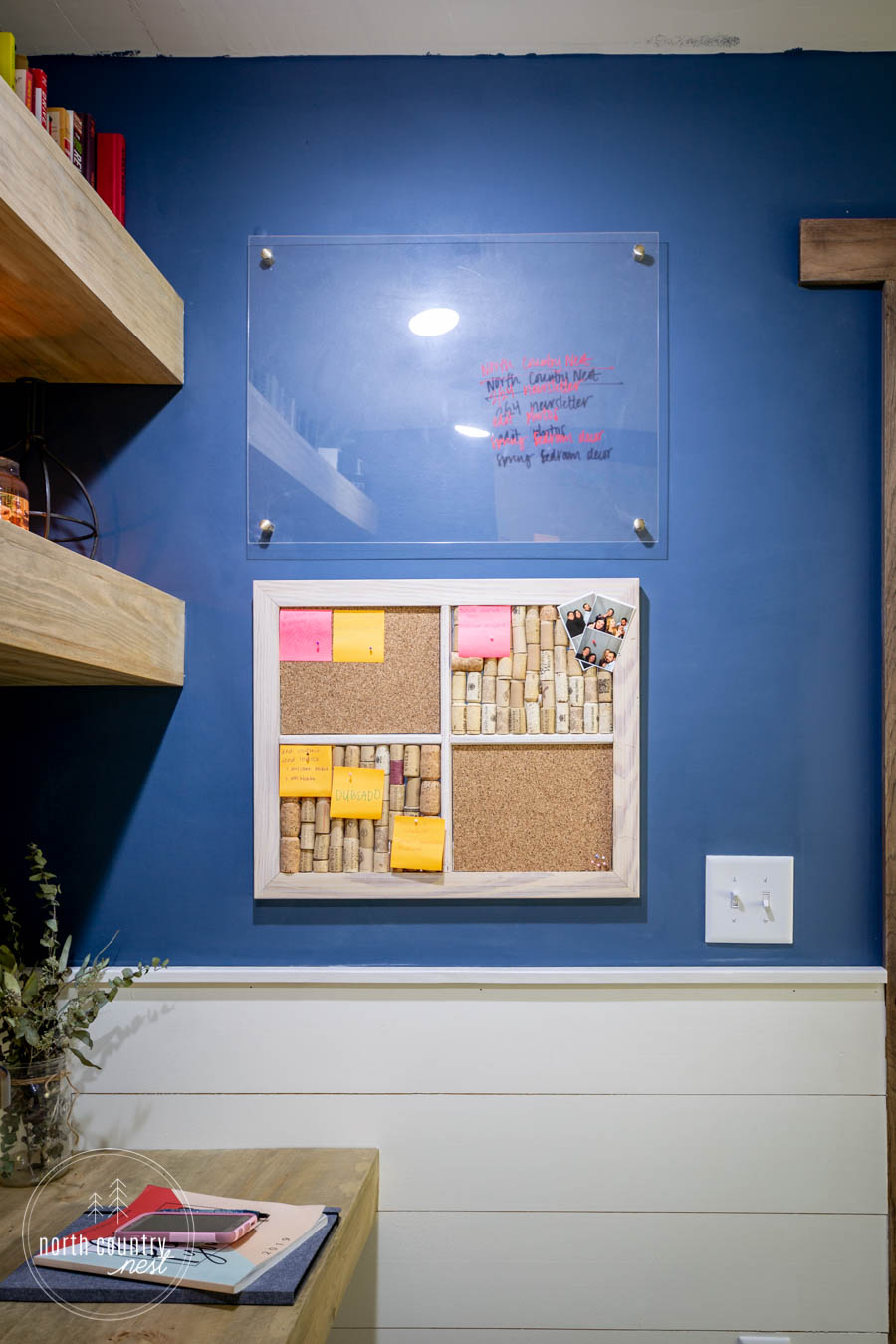 DIY office cork board and plexiglass whiteboard