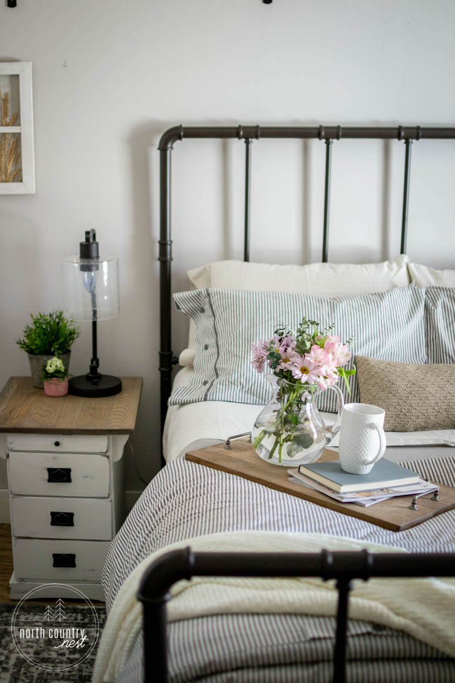 spring bedroom decor with fresh flowers