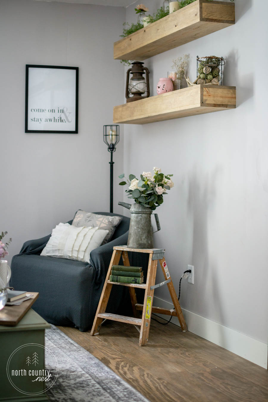 spring bedroom decor and reading nook with flowers