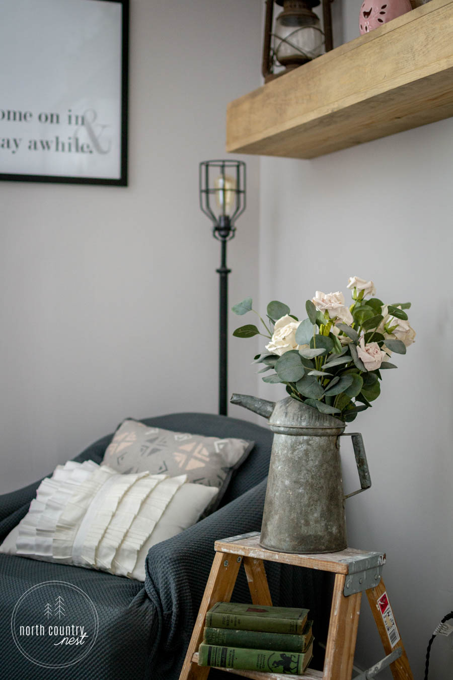 spring bedroom reading nook with spring flowers