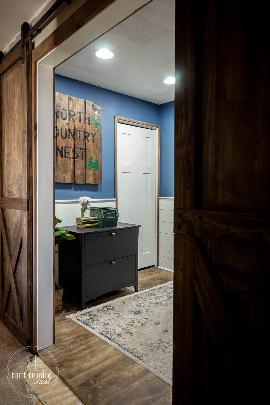 rustic home office with sliding barn doors