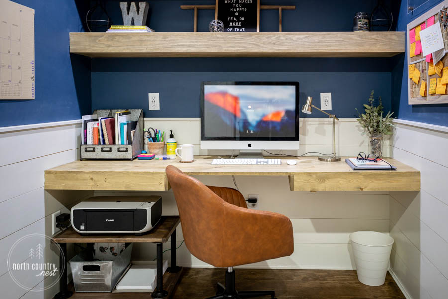 floating desk in rustic home office