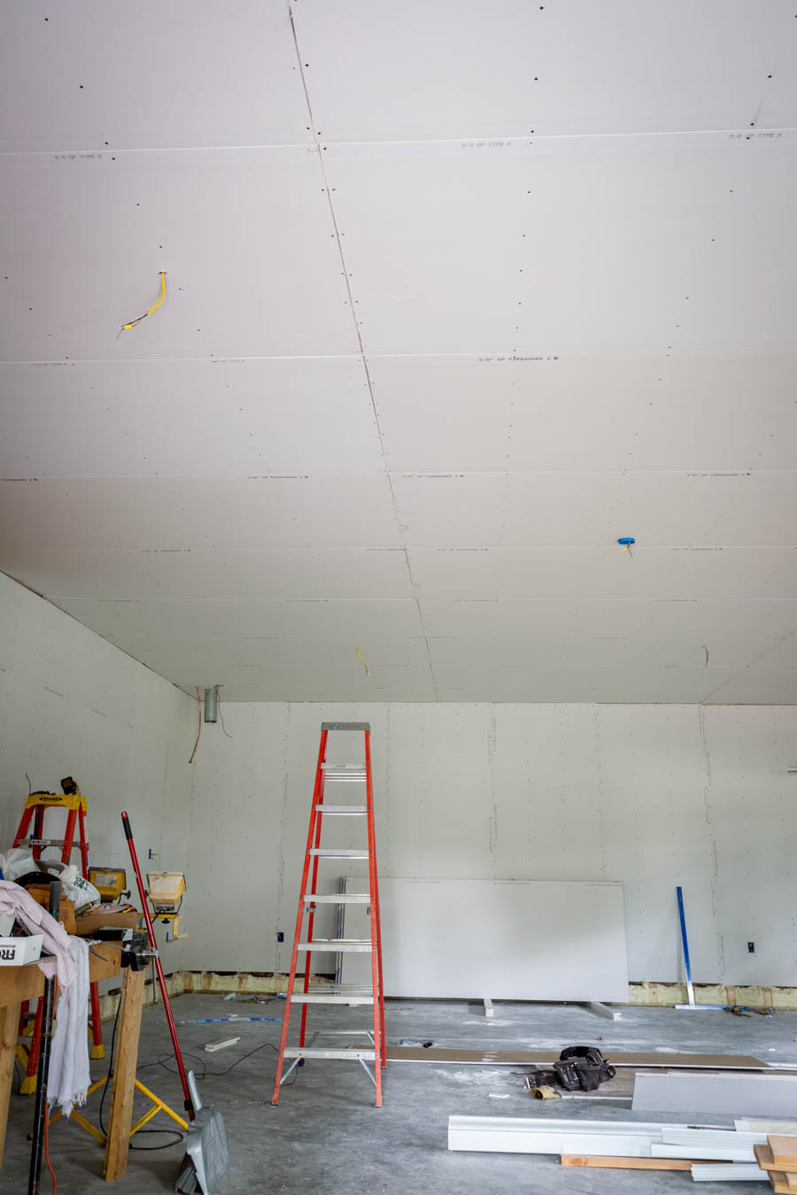 drywall in three car garage