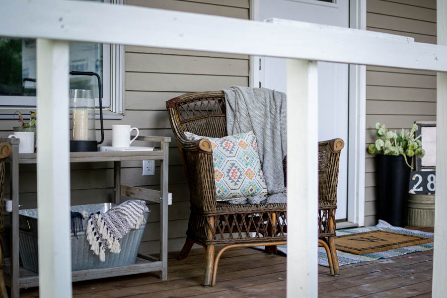 wicker chairs on summer porch