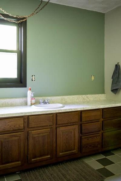 master bathroom with scalloped gray and acacia haze walls