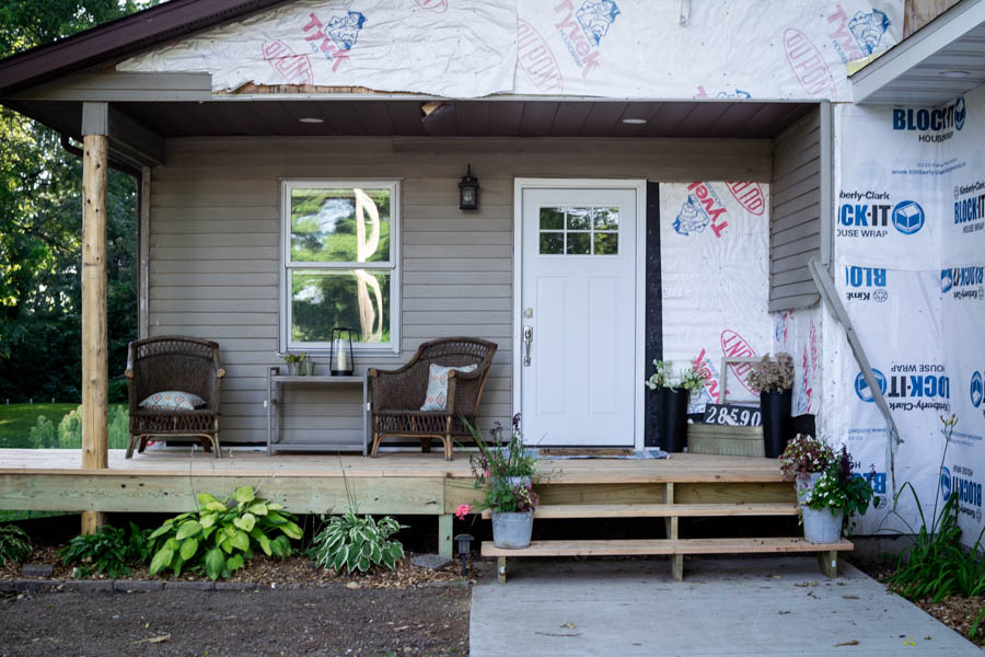 Rustic front porch with cedar posts