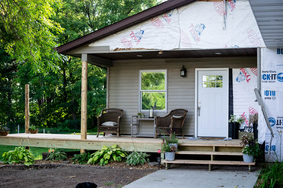 New cedar front porch at North Country Nest