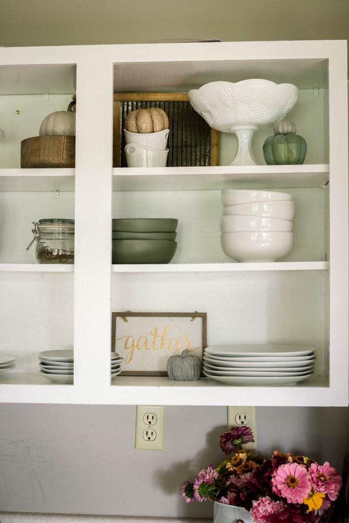 Fall decor for kitchen open shelves