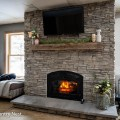Fireplace mantle decorated for spring