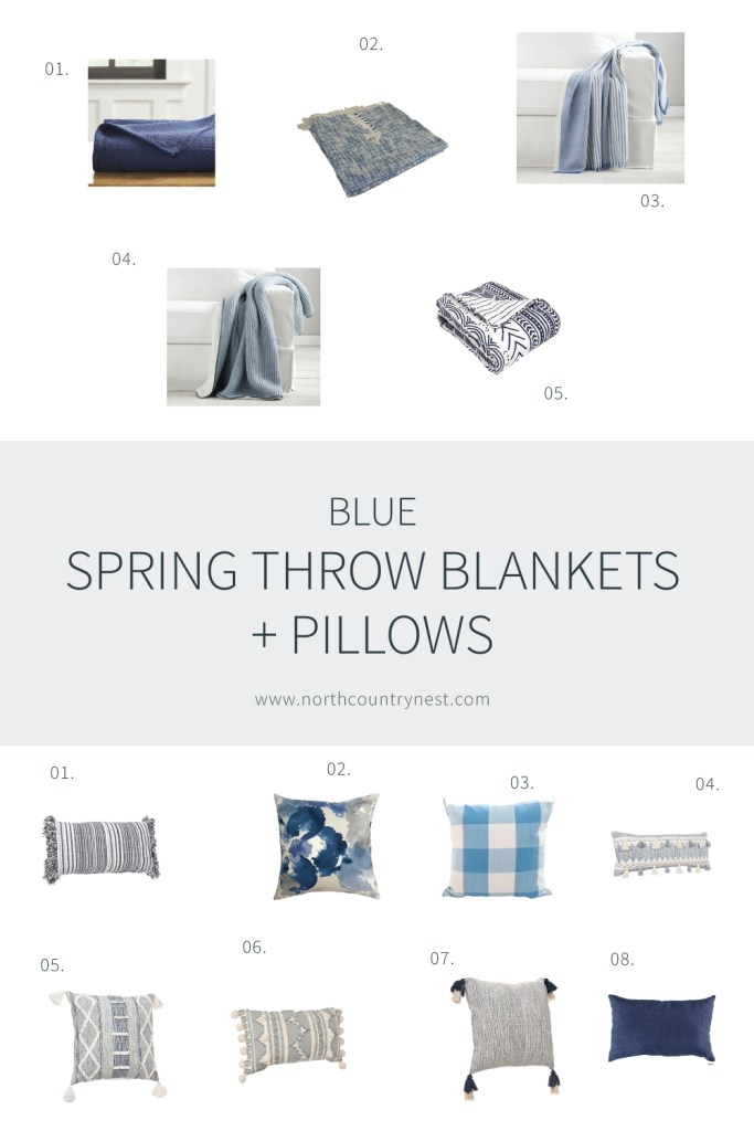 Blue Spring Throw Pillows and Bankets | North Country Nest