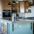 Green kitchen island, Sweetbrier by Dutch Boy