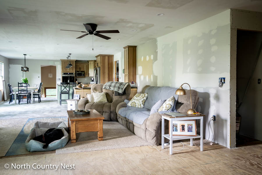 Rustic Living Room Mid-Renovation | North Country Nest