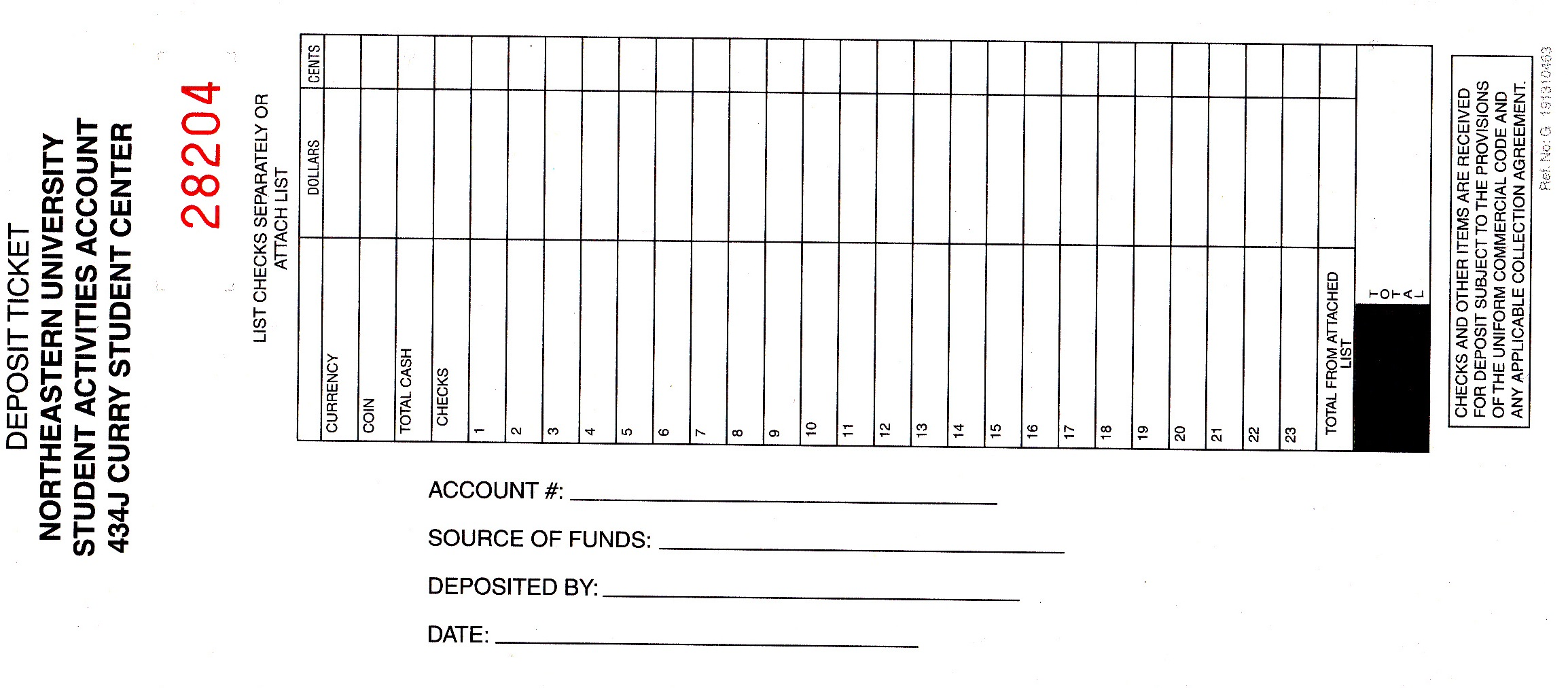 Student Activities Business Office Deposit Forms