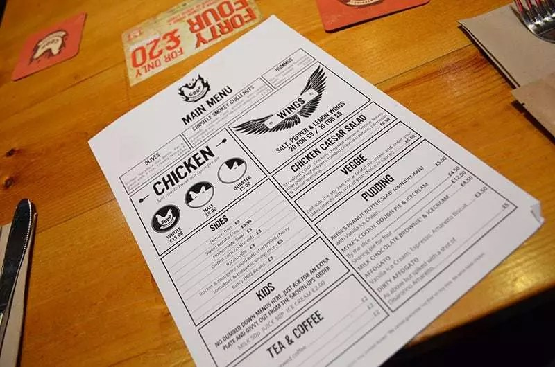COOP Chicken House menu