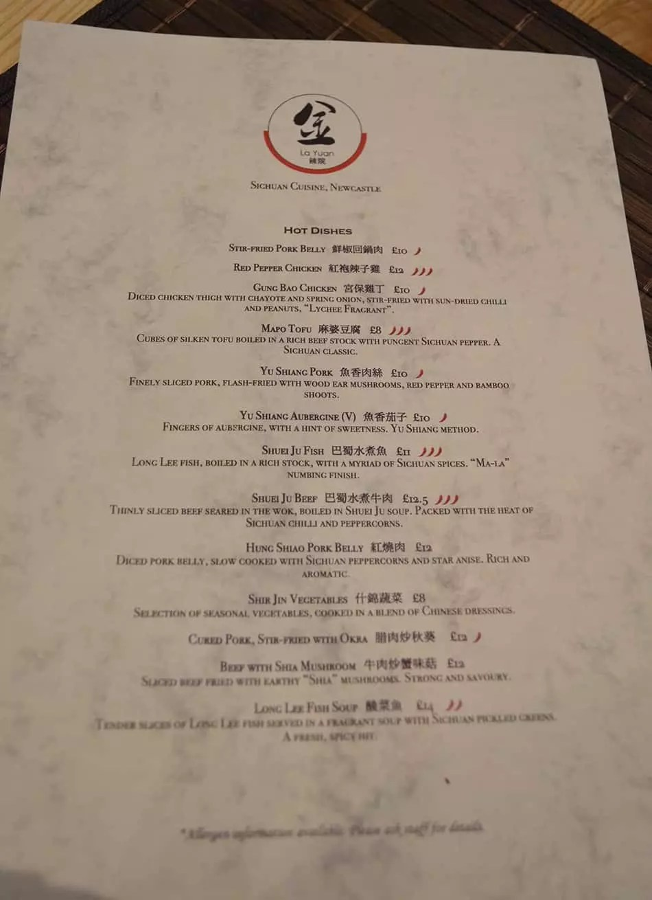 La Yuan Newcastle Menu