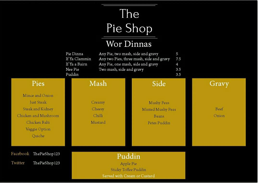 The pie shop north shields menu