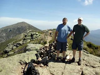 The summit of Mt. Lincoln with Mt. Lafayette in the background on the Franconia Ridge Trail.