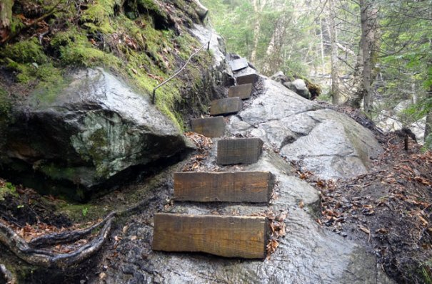 Wood-block steps on the Mt. Moosilauke Beaver Brook Trail