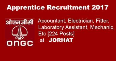 ONGC Jorhat;  Recruitment of 224 apprentice post