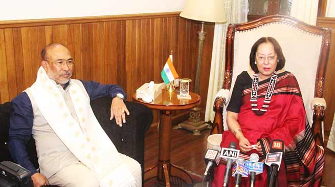 Manipur: N Biren Singh is 3rd best CM in India,  Dr Najma Heptulla felicitates him