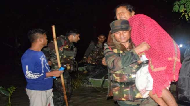 Assam: Army conducts Rescue Operation during night, save 160 marooned persons in Nalbari