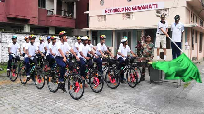 Assam: ADG NCC Flags Off Cycle Rally at Guwahati | NorthEast