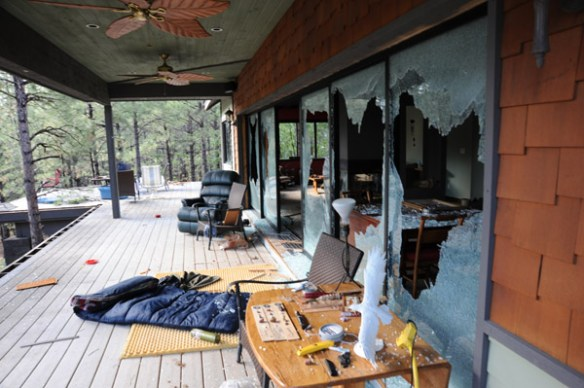 Damage caused by suspect - Photo courtesy of Coconino County Sheriff's Department