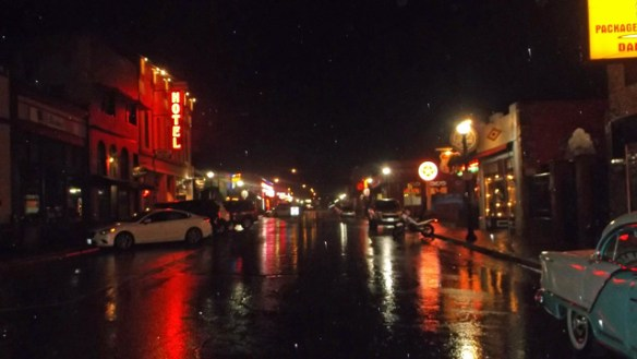 Wet historic Route 66 in Downtown Williams.