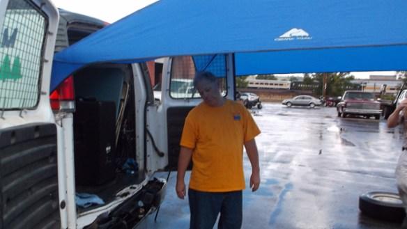 Les, Station Manager of KZBX 92.1, saddened by the rain.