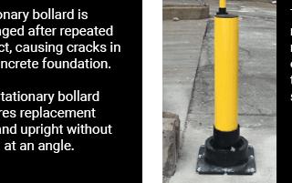 Comparing a stationary bollard to the rebounding bollard