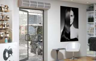 Commercial high performance air curtain hair dresser entrance