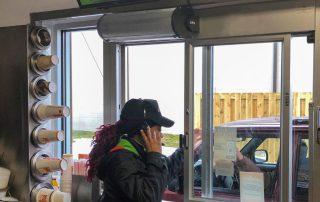 Restaurant drive thru window air curtain