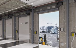 Industrial direct drive air curtain distribution center door