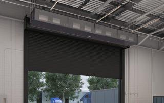 Industrial direct drive air curtain warehouse door