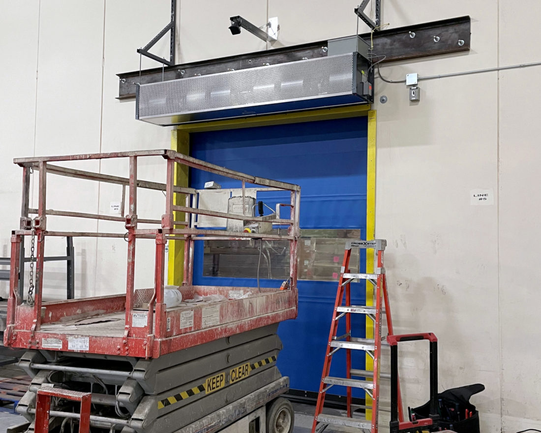 high speed fabric roll-up door warehouse