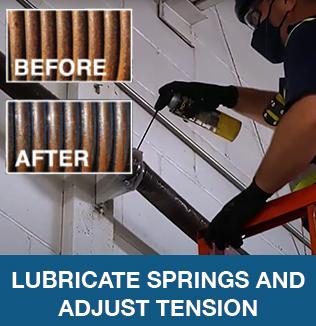 Lubricate springs and adjust tension