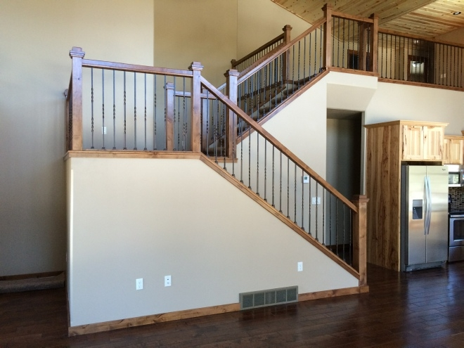 Knotty Alder With Metal Balusters | Knotty Alder Stair Railing | Distressed | Diy | Interior | Indoor | Wood