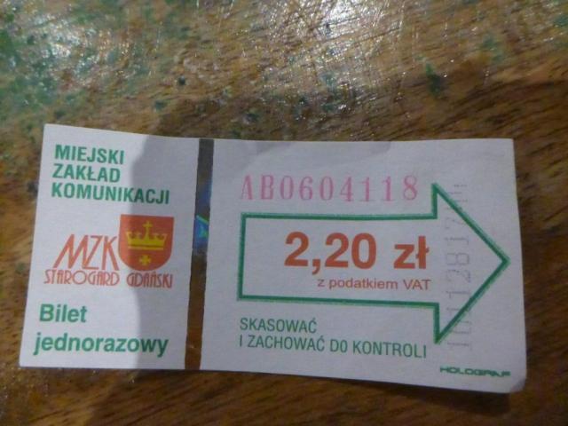 Local bus ticket in Starogard Gdanski