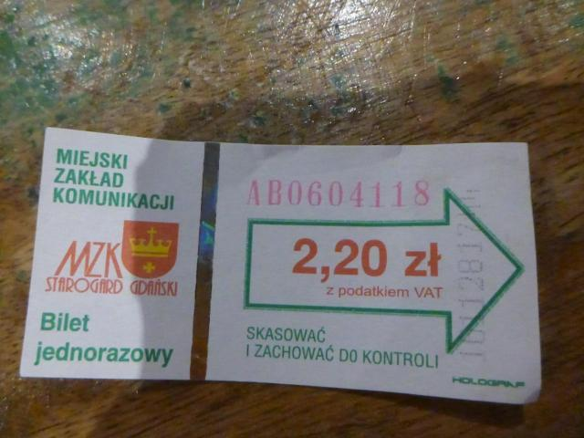 Local bus ticket in Starogard Gdanski